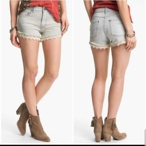 ⭐NWT⭐ Free People Lace Trim Railroad Stripe Shorts